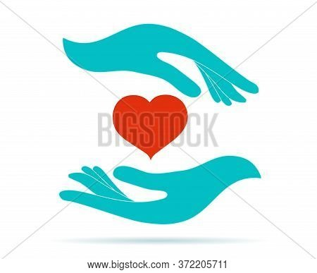 Volunteer Donation Or Solidarity Charity Concept. Symbol Hand Giving And Hand Receiving. Voluntary A
