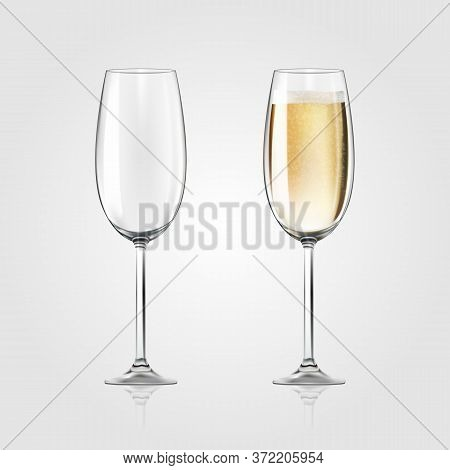 Vector Realistic Full And Empty Glasses Of Champagne, Beautiful Shining Glass Isolated On White Back