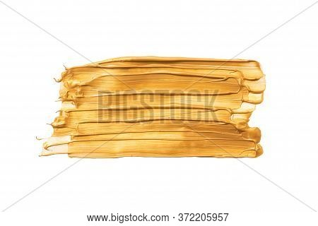 Big Rectangular Gold Brush Strokes Or Smears Isolated On White Background. Top View. Mock Up With Co