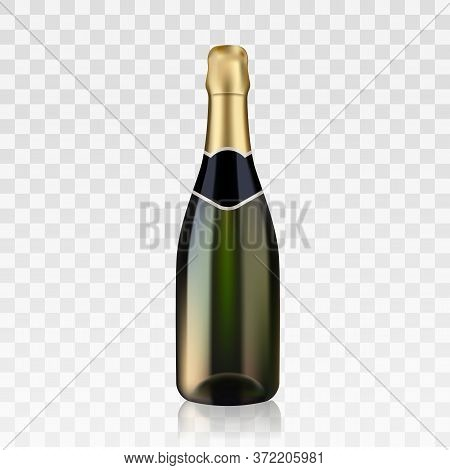 Vector Stock Realistic Bottle Of Champagne, Beautiful Shining Green Blank Glass Bootle Isolated On T