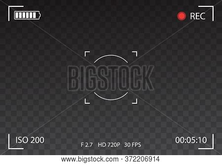 Vector Black Transparent Camera Rec Interface Viewfinder With Digital Focus And Exposure Settings. S