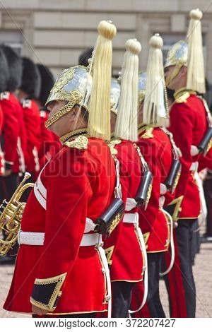 London, England - 13 May, 2011: The Changing Of The Guards Performed By Her Majesty\'s Coldstream Re