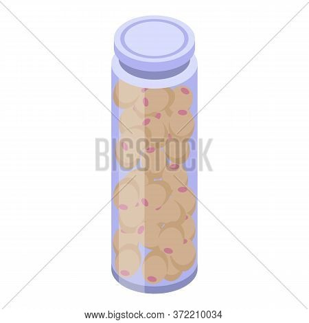 Long Olive Jar Icon. Isometric Of Long Olive Jar Vector Icon For Web Design Isolated On White Backgr