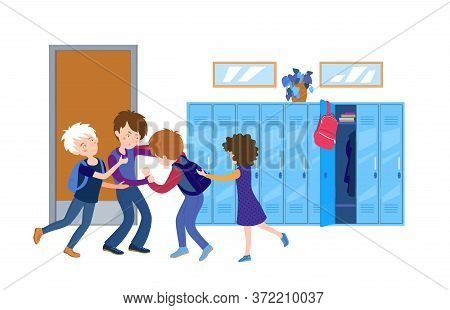 Boys Fighting In School. Normal Situation From Childhood. College Fight. Violence Policy. Teenager B