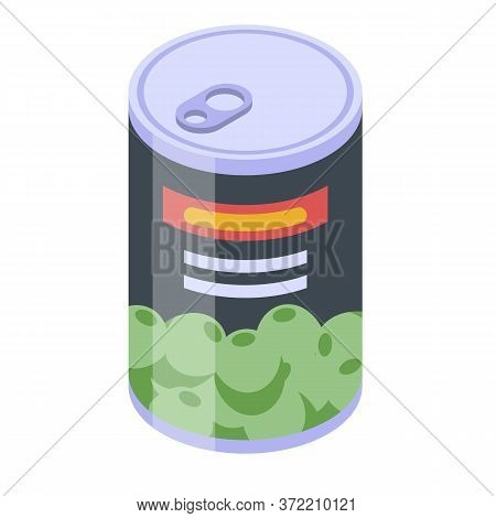 Spanish Olive Tin Can Icon. Isometric Of Spanish Olive Tin Can Vector Icon For Web Design Isolated O