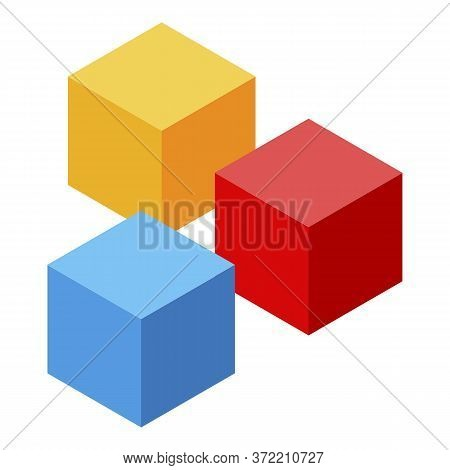 Kindergarten Colorful Cubes Icon. Isometric Of Kindergarten Colorful Cubes Vector Icon For Web Desig