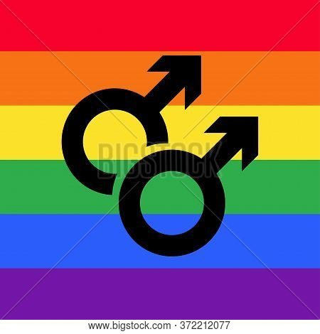 Gay Flat Icon. Sexual Orientation Concept Symbol. Pictograms Vector Illustration. Male Sexual Orient