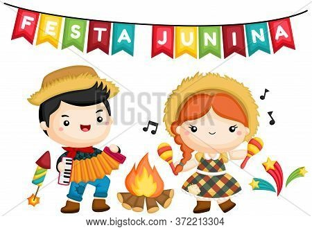 A Vector Of A Happy Boy And Girl At Festa Junina