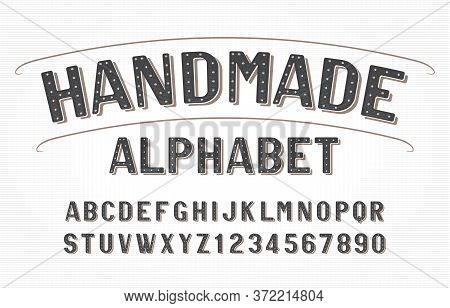Handmade Alphabet Font. Vintage Messy Handwritten Letters And Numbers. Stock Vector Typescript For Y