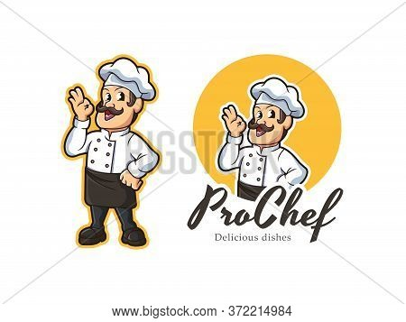 Chef Mascot Logo Vector. Professional Chef Vector Illustration. Male Chef Logo. Cooking Vector Logo