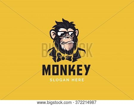 Monkey Mascot Logo Vector. Animal Vector Illustration. Geek Monkey Logo. Chimpanzee Vector Logo Desi