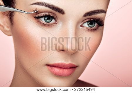 Beautiful Woman With Extreme Long False Eyelashes. Eyelash Extensions. Makeup, Cosmetics. Beauty, Sk
