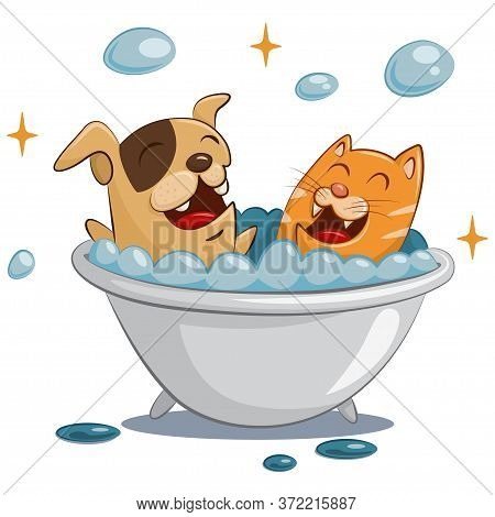 Pet Grooming And Spa. Dog And Cat Care. Animal In Bath With Soap Bubbles. Funny Cartoon Illustration