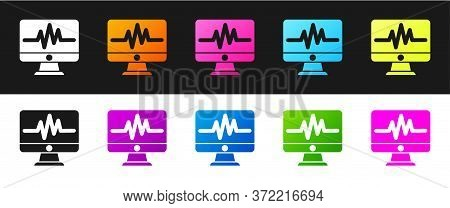Set Computer Monitor With Cardiogram Icon Isolated On Black And White Background. Monitoring Icon. E