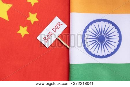 India China Border Dispute Or Conflicts Showing With India And Chinese Flag