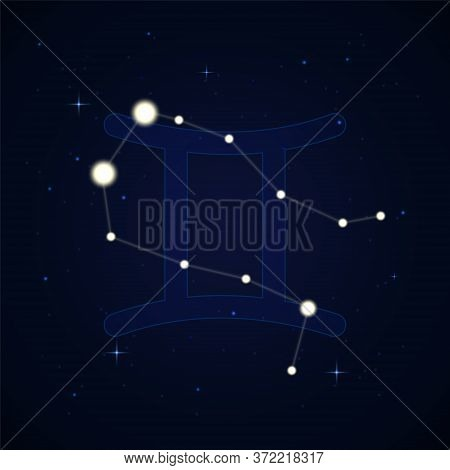 Gemini, The Heavenly Twins. Constellation And Zodiac Sign On The Starry Night Sky