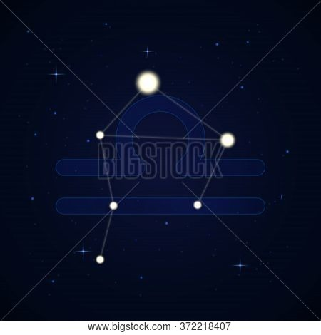 Libra, The Scales. Constellation And Zodiac Sign On The Starry Night Sky