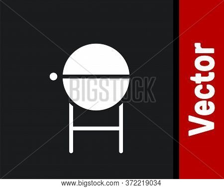 White Barbecue Grill Icon Isolated On Black Background. Bbq Grill Party. Vector Illustration