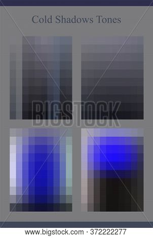 Cold Dark Blue Shades Color Palette Vector Illustration Set. Technology Business Palette Guide. Tren