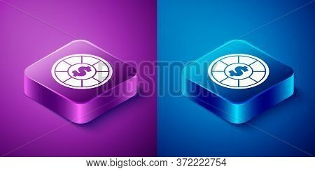 Isometric Casino Chips Icon Isolated On Blue And Purple Background. Casino Gambling. Square Button.