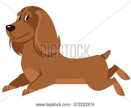 Running Cocker Spaniel Side View. Cute Pet In Cartoon Style.