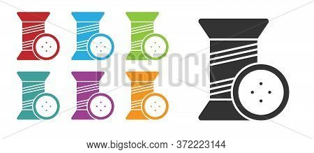 Black Sewing Thread On Spool And Button Icon Isolated On White Background. Yarn Spool. Thread Bobbin