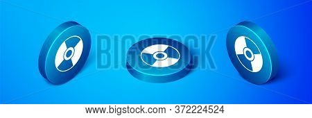Isometric Cd Or Dvd Disk Icon Isolated On Blue Background. Compact Disc Sign. Blue Circle Button. Ve