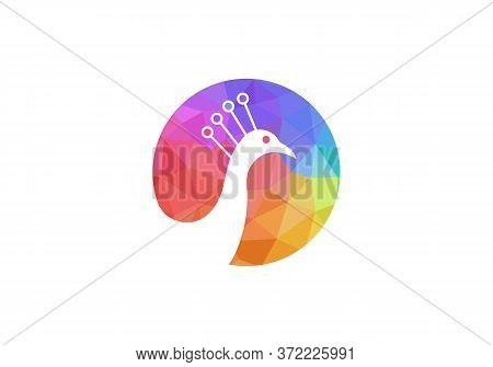 Awesome Peacock Logo Design Vector Stock Illustration. Peacock Logo Design. Low Poly Peacock