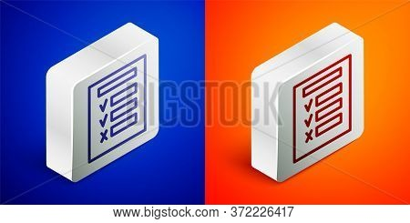 Isometric Line Car Inspection Icon Isolated On Blue And Orange Background. Car Service. Silver Squar