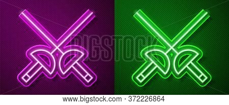 Glowing Neon Line Fencing Icon Isolated On Purple And Green Background. Sport Equipment. Vector Illu