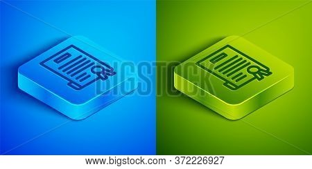 Isometric Line Declaration Of Independence Icon Isolated On Blue And Green Background. Square Button