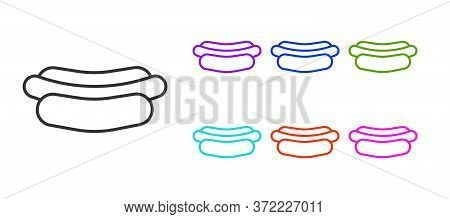 Black Line Hotdog Sandwich Icon Isolated On White Background. Sausage Icon. Fast Food Sign. Set Icon