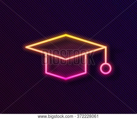 Glowing Neon Line Graduation Cap Icon Isolated On Black Background. Graduation Hat With Tassel Icon.