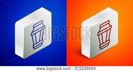 Isometric Line Garden Light Lamp Icon Isolated On Blue And Orange Background. Solar Powered Lamp. La
