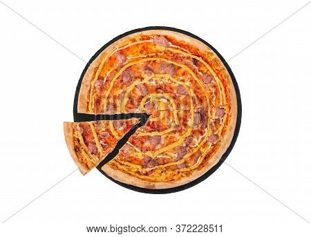 Italian Salsiccia Pizza With Beef Sausages, Mozzarella, Various Sauces And Marinated Red Onions, Wit