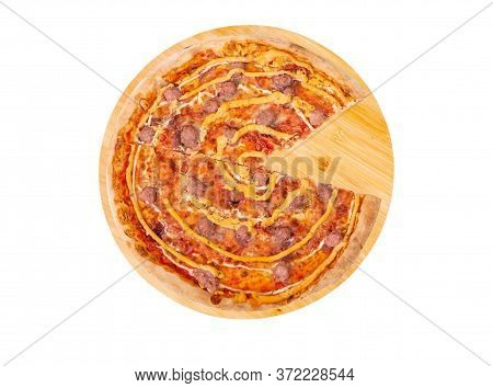 Tasty Pizza With Beef Sausages, Mozzarella, Various Sauces And Marinated Red Onions, Without One Sli