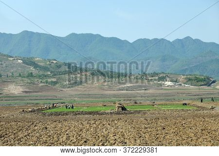 Countryside Landscape, North Korea. Peasants, Cultivated Agricultural Field And Mountains At Backgro