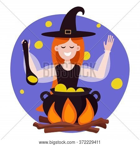 Witch Is Preparing A Green Potion In A Cauldron. Vector Illustration Of A Red-haired Cute Witch With
