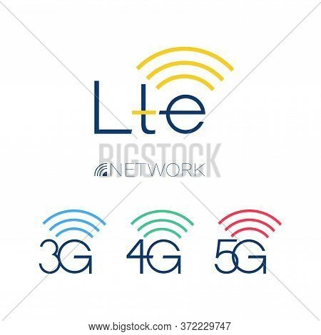 Lte Icon. Network Signs 3g, 4g, 5g. Vector Technology. Set. Design Template Isolated Illustration. I