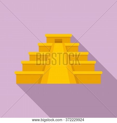 Mexican Pyramide Icon. Flat Illustration Of Mexican Pyramide Vector Icon For Web Design