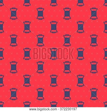 Blue Line Sewing Thread On Spool Icon Isolated Seamless Pattern On Red Background. Yarn Spool. Threa