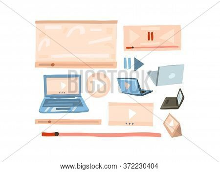 Hand Drawn Vector Abstract Stock Flat Graphic Illustration Vlog Concept Collection Set With Play Vid
