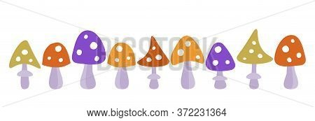 Vector Set Of Multi-colored Fly Agaric Mushrooms On A White Background. Horizontal Banner, Backgroun