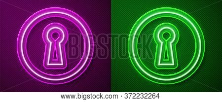 Glowing Neon Line Keyhole Icon Isolated On Purple And Green Background. Key Of Success Solution. Key