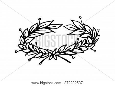 Glory Symbol Laurel Wreath At Some Angle Vector Illustration With Black Lines In Hand Drawn Style Is