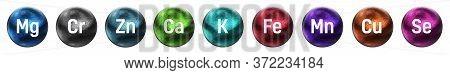 Minerals Essential For Human Health. Selenium, Potassium, Zinc, Iron, Copper, Magnesium, Calcium, Ma