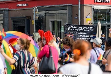 Wroclaw, Poland, 19.06.2020 - Polish Lgbt Peaceful March For Equality And Opponents Of This March