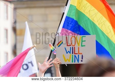 Wroclaw, Poland, 19.06.2020 - Love Will Win Poster On Polish Lgbt Peaceful March For Equality