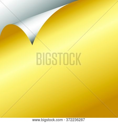 Silver And Gold Gradient Curled Paper Page Corners Vector Illustration 06