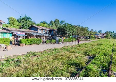 Kalaw, Myanmar - November 24, 2016: Small Rural Train Station Near Kalaw Town, Myanmar